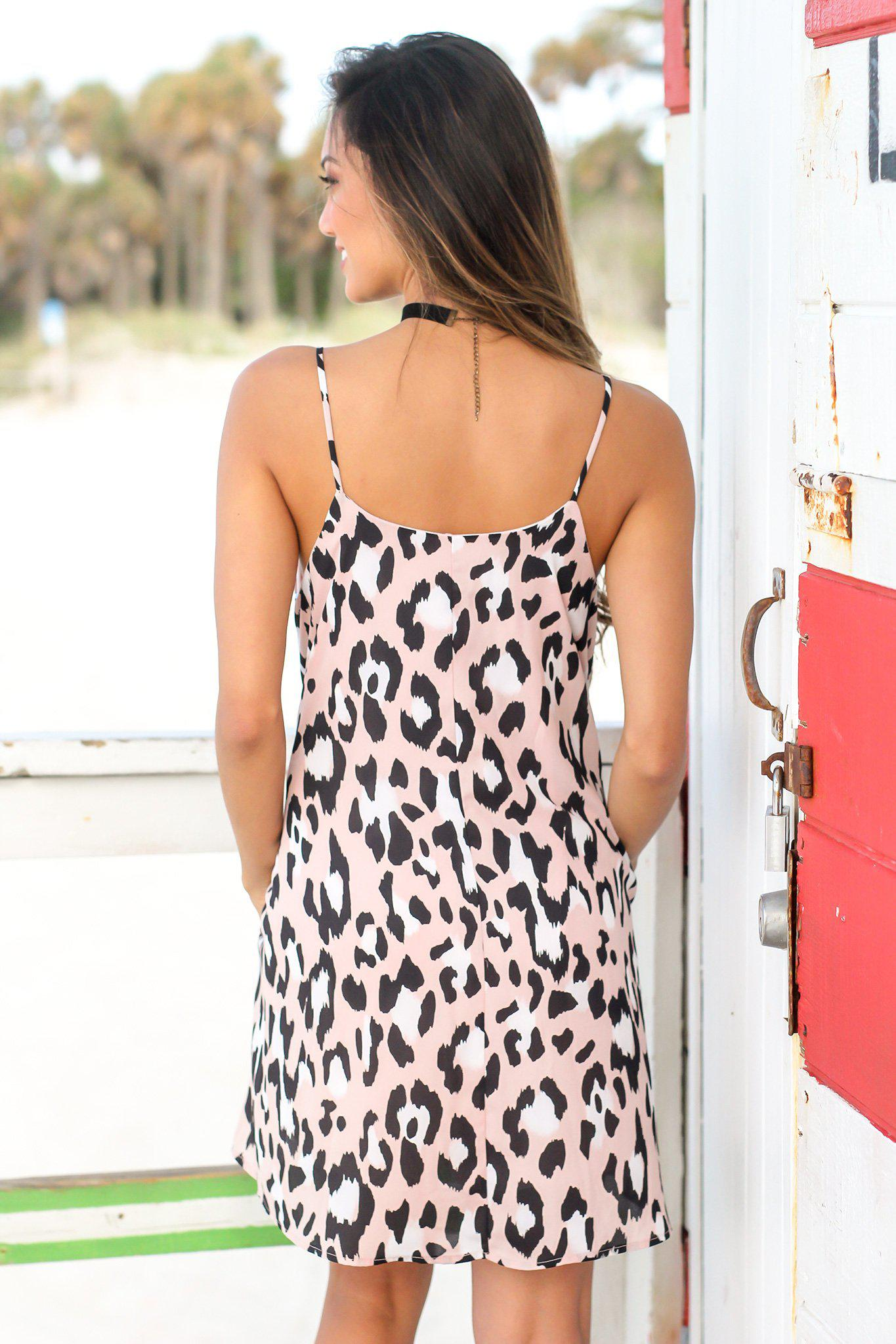 Dusty Pink Leopard Short Dress