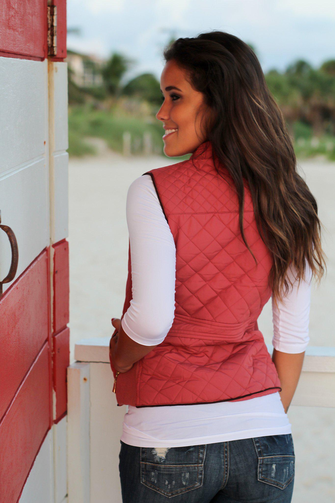 Dusty Pink Quilted Vest With Pockets
