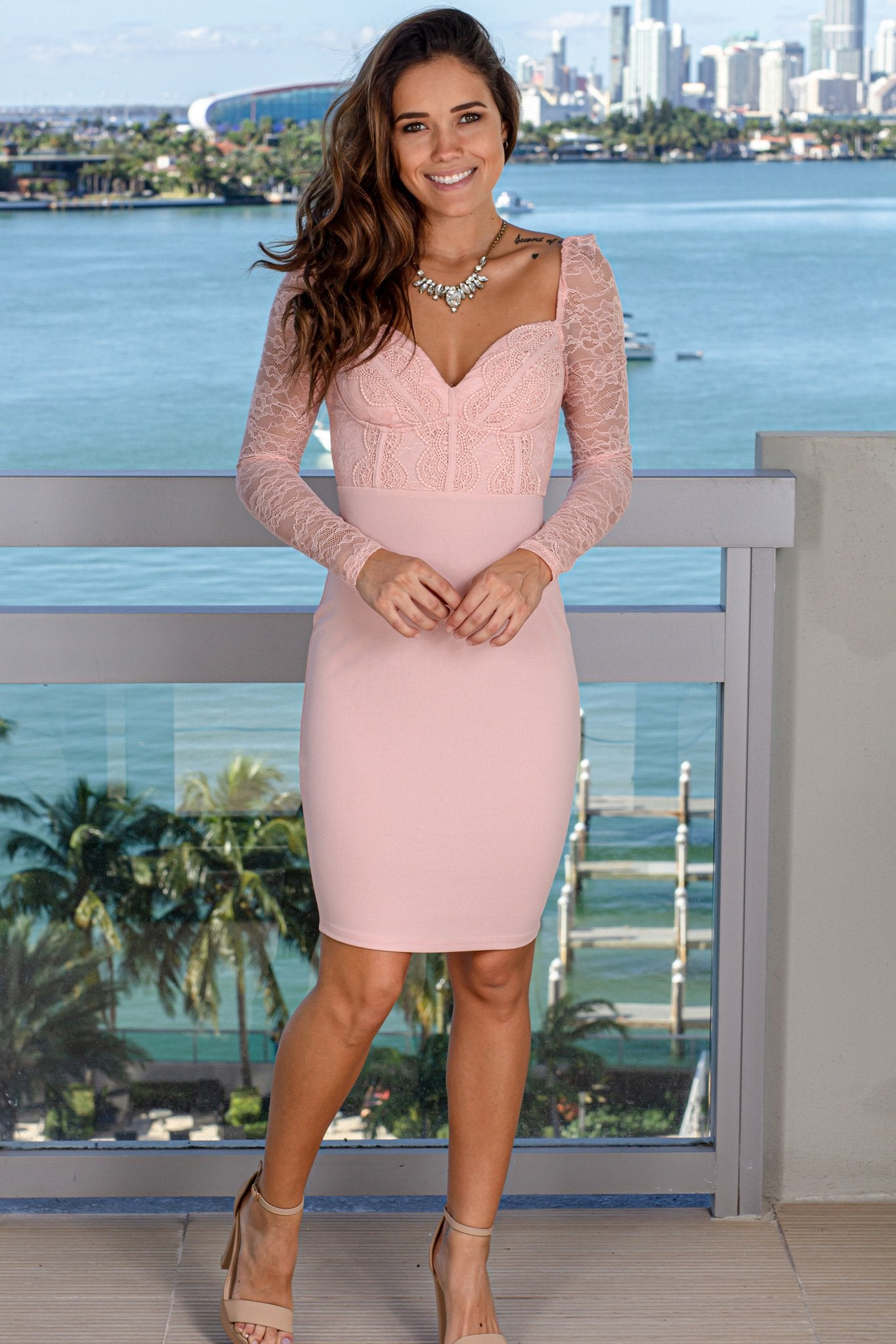 Dusty Pink Short Dress with Lace Sleeves