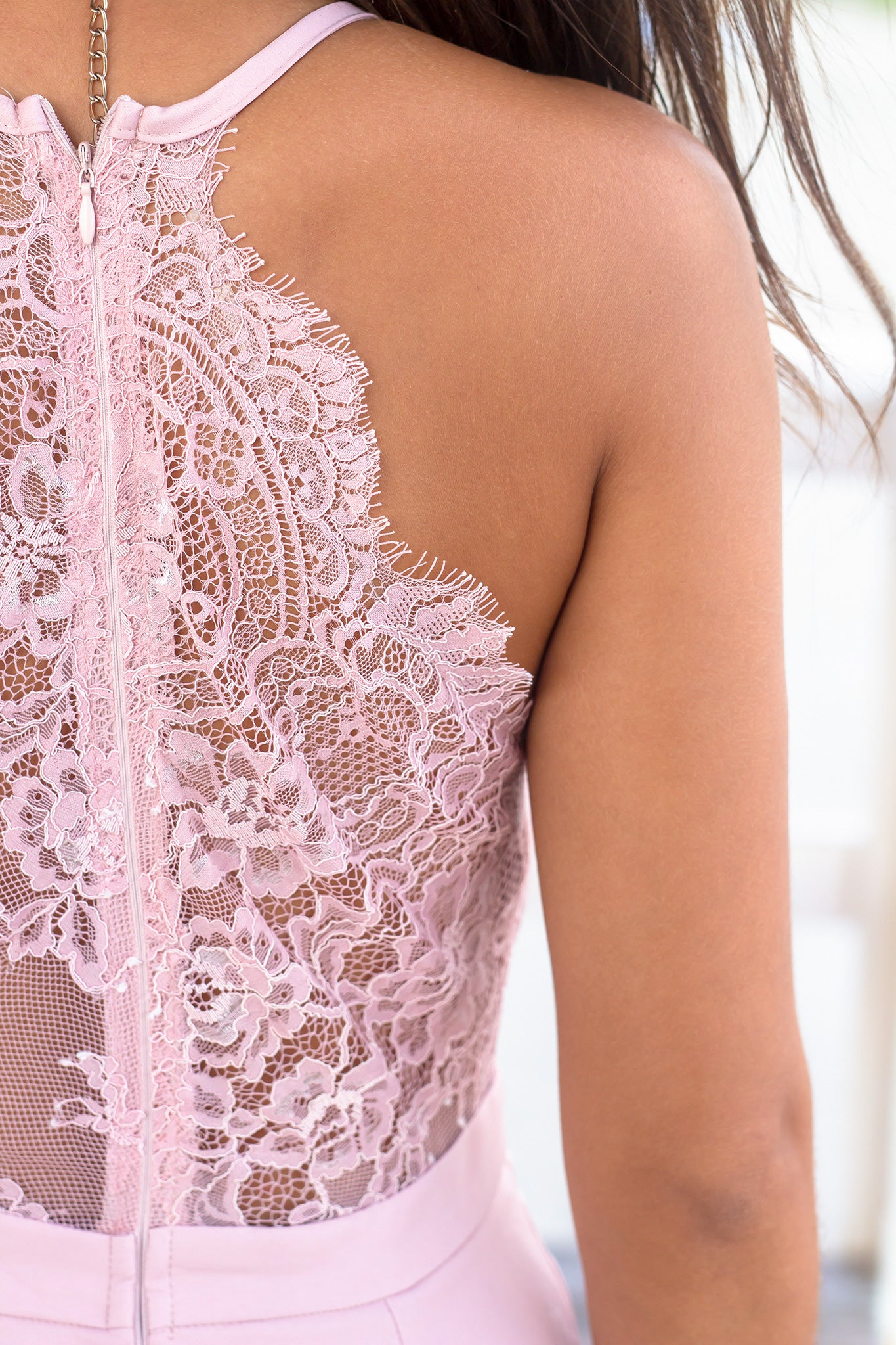 Dusty Pink V-Neck Short Dress with Lace Back