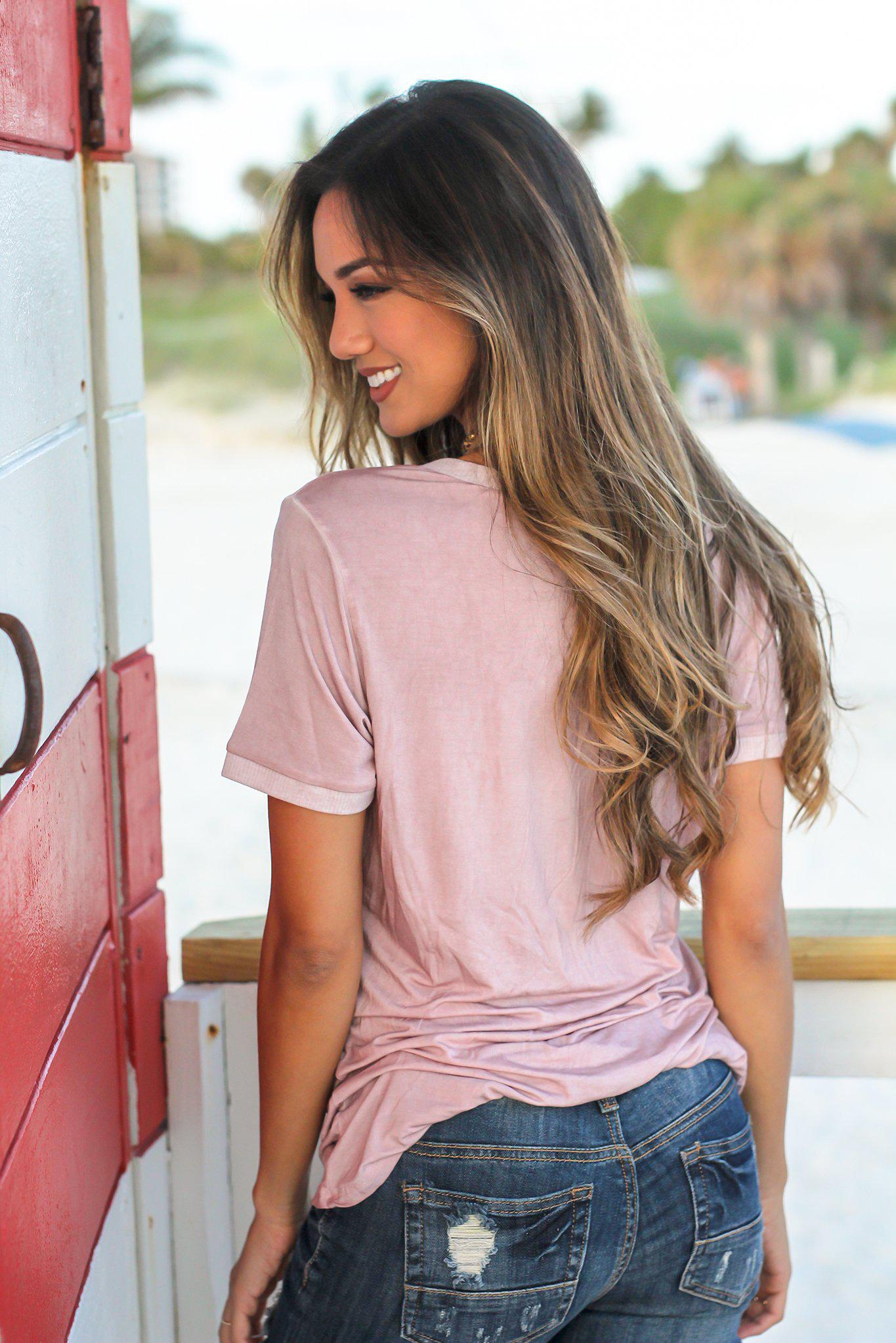 Dusty Pink V-Neck Top with Lace Trim Pocket