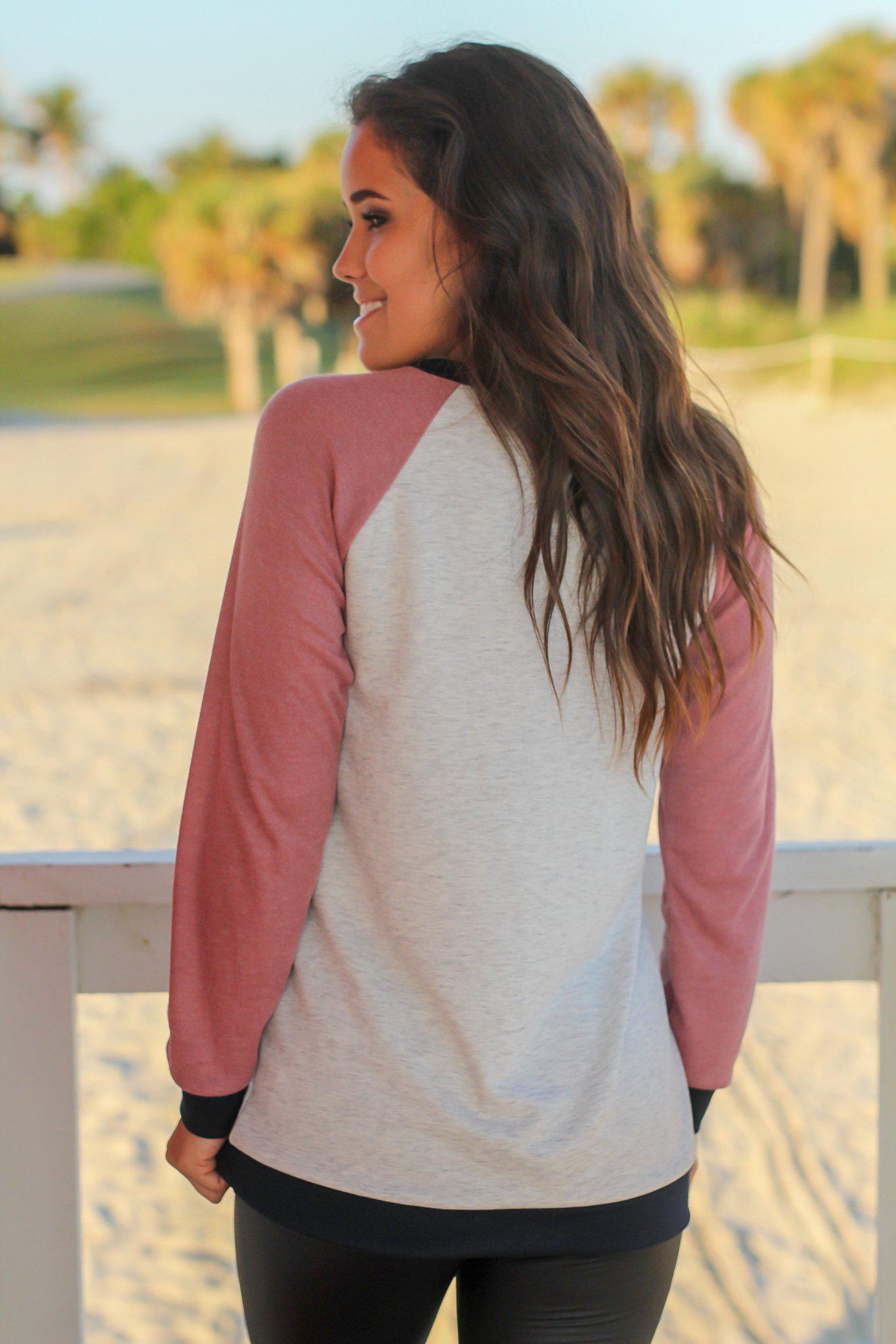 Dusty Pink and Navy Pullover Top