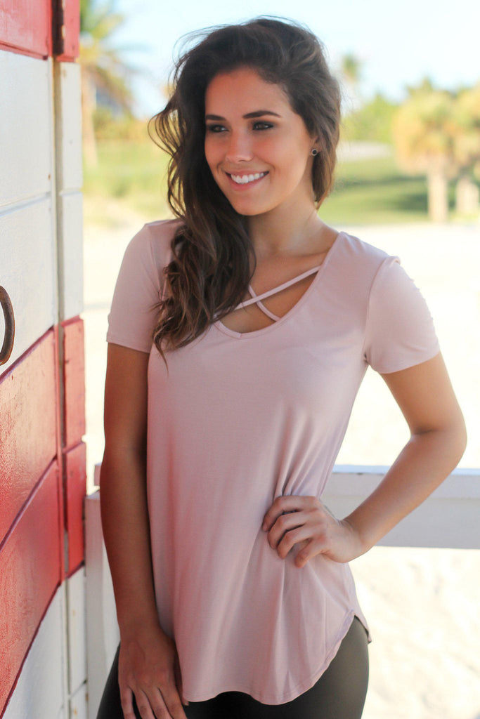 Dusty Rose Criss Cross Top with Short Sleeves