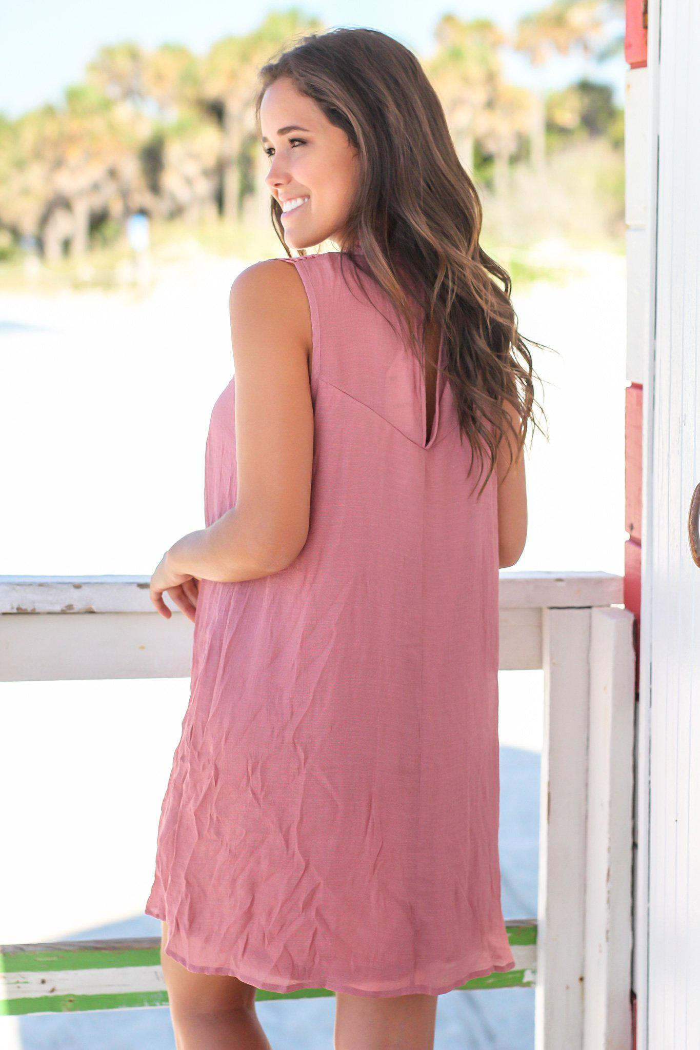 Dusty Rose Crochet Short Dress