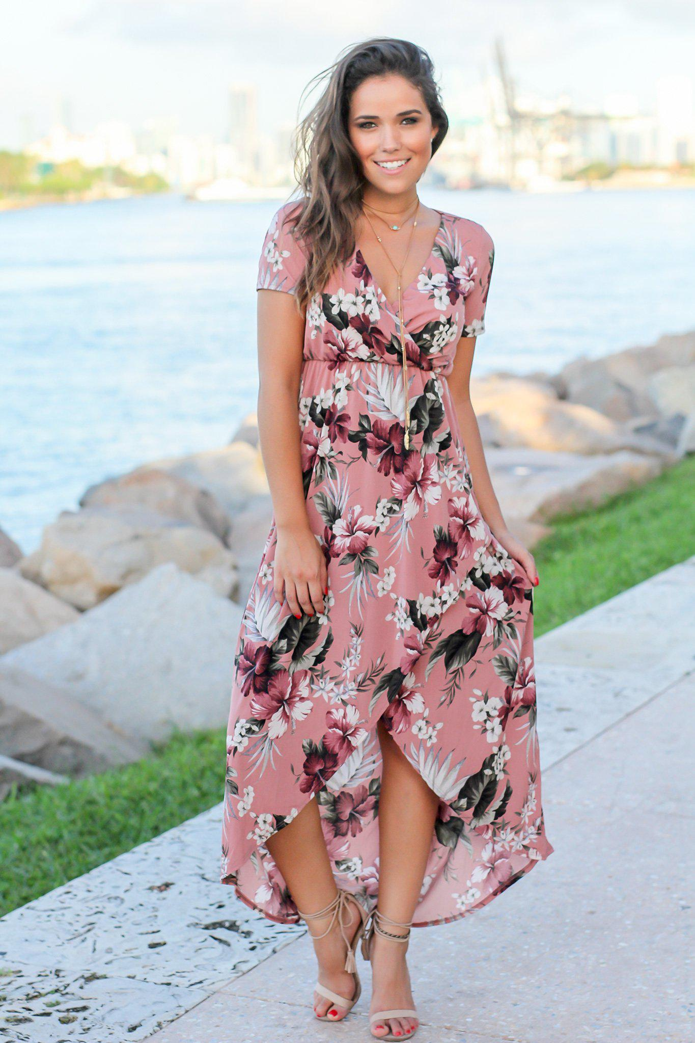 Dusty Rose Floral High Low Dress