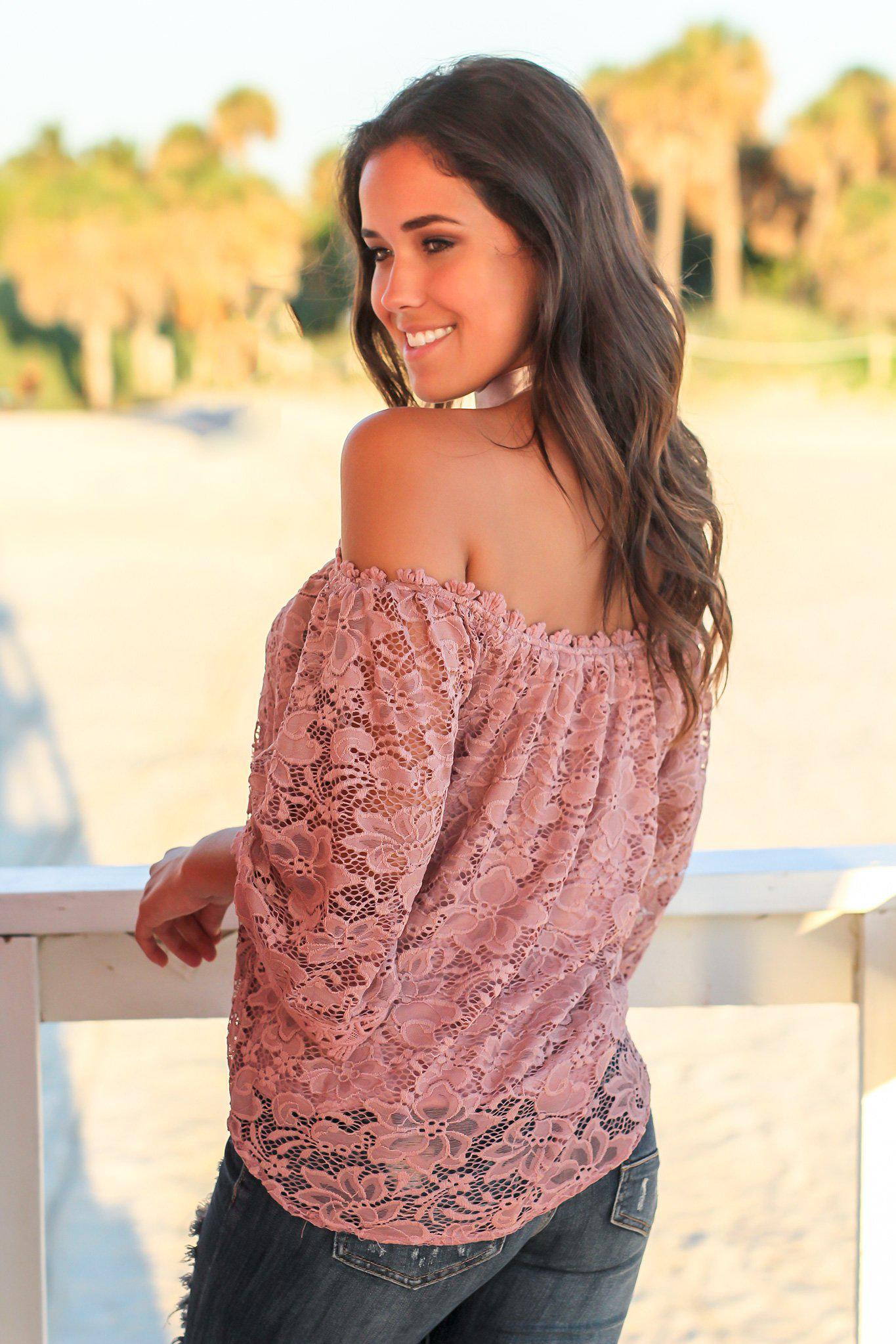 Dusty Rose Lace Off Shoulder Top