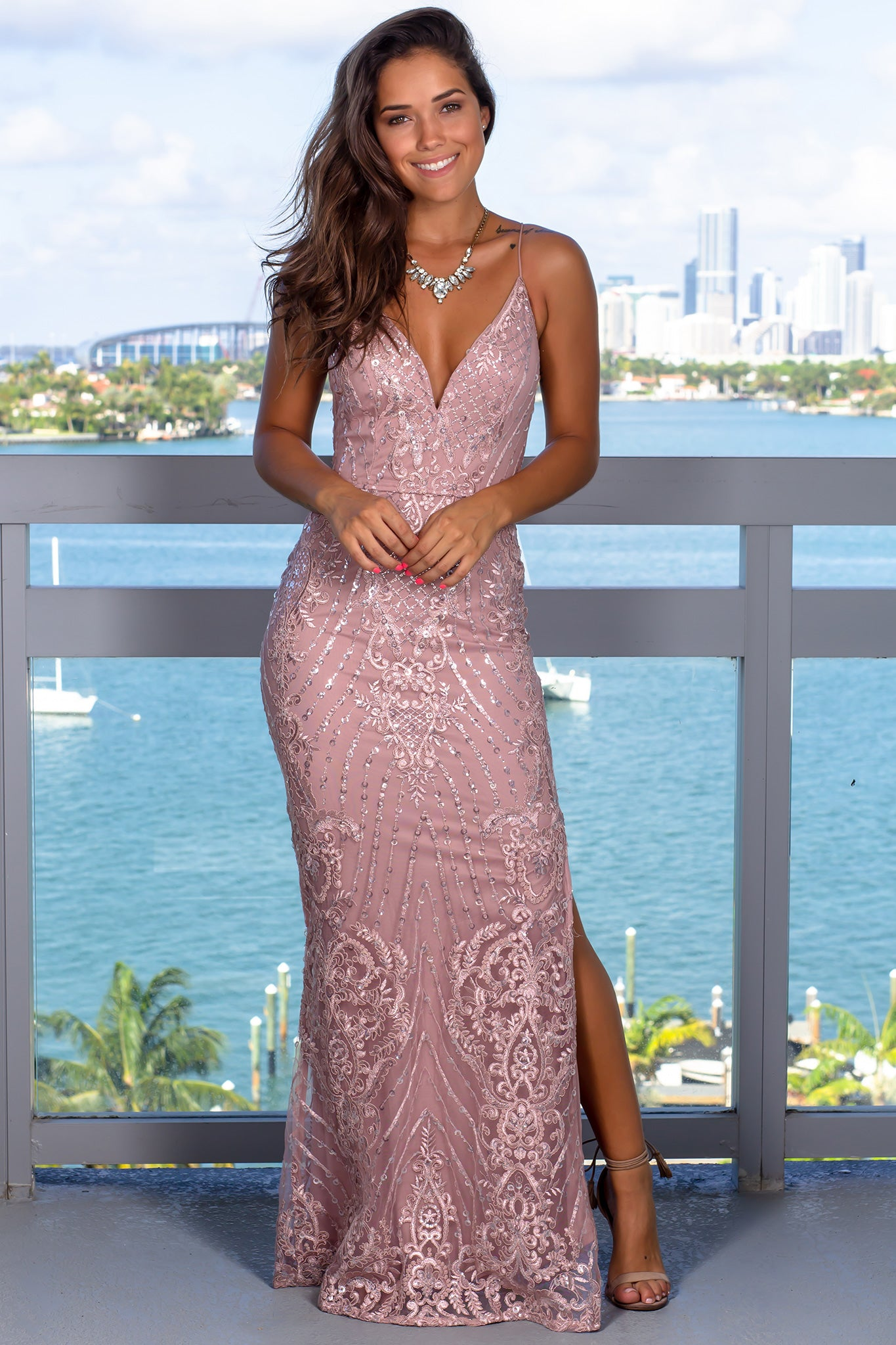 Dusty Rose Maxi Dress with Sequins