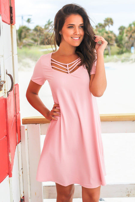 Dusty Rose Short Sleeve Strappy Short Dress