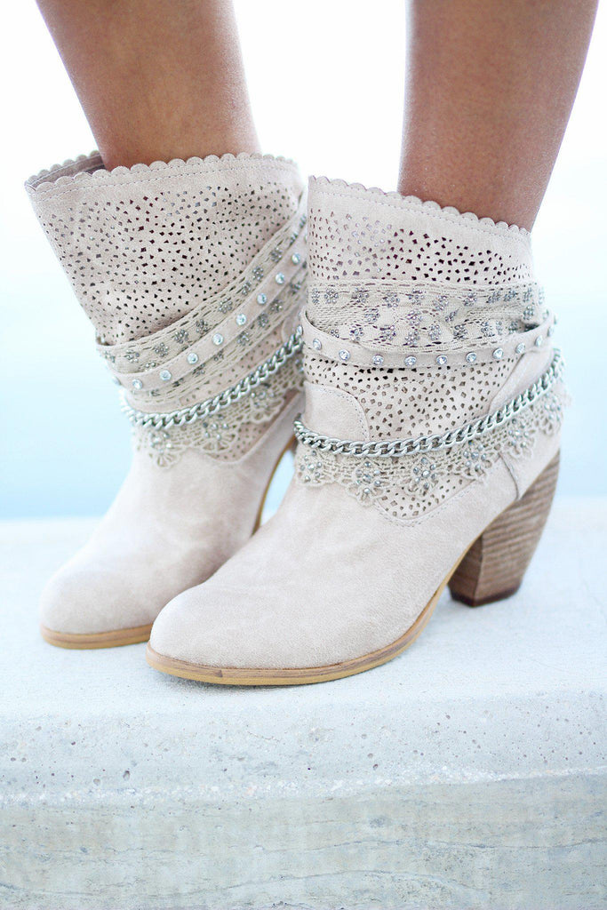 cream perforated booties