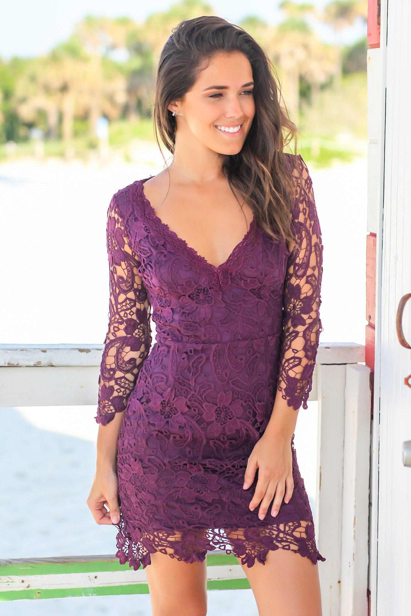 Eggplant Crochet V-Neck Short Dress with 3/4 Sleeves