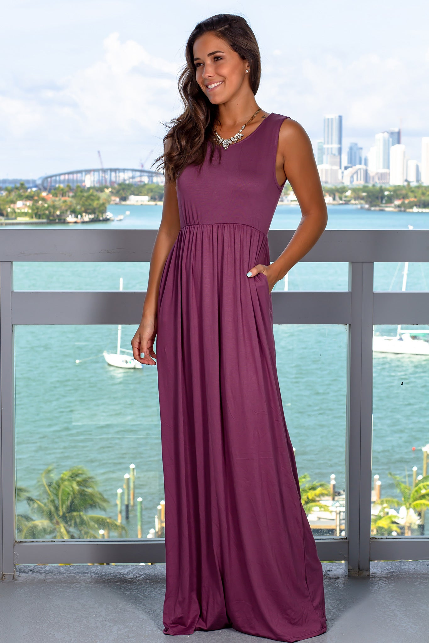 Eggplant Sleeveless Maxi Dress with Pockets