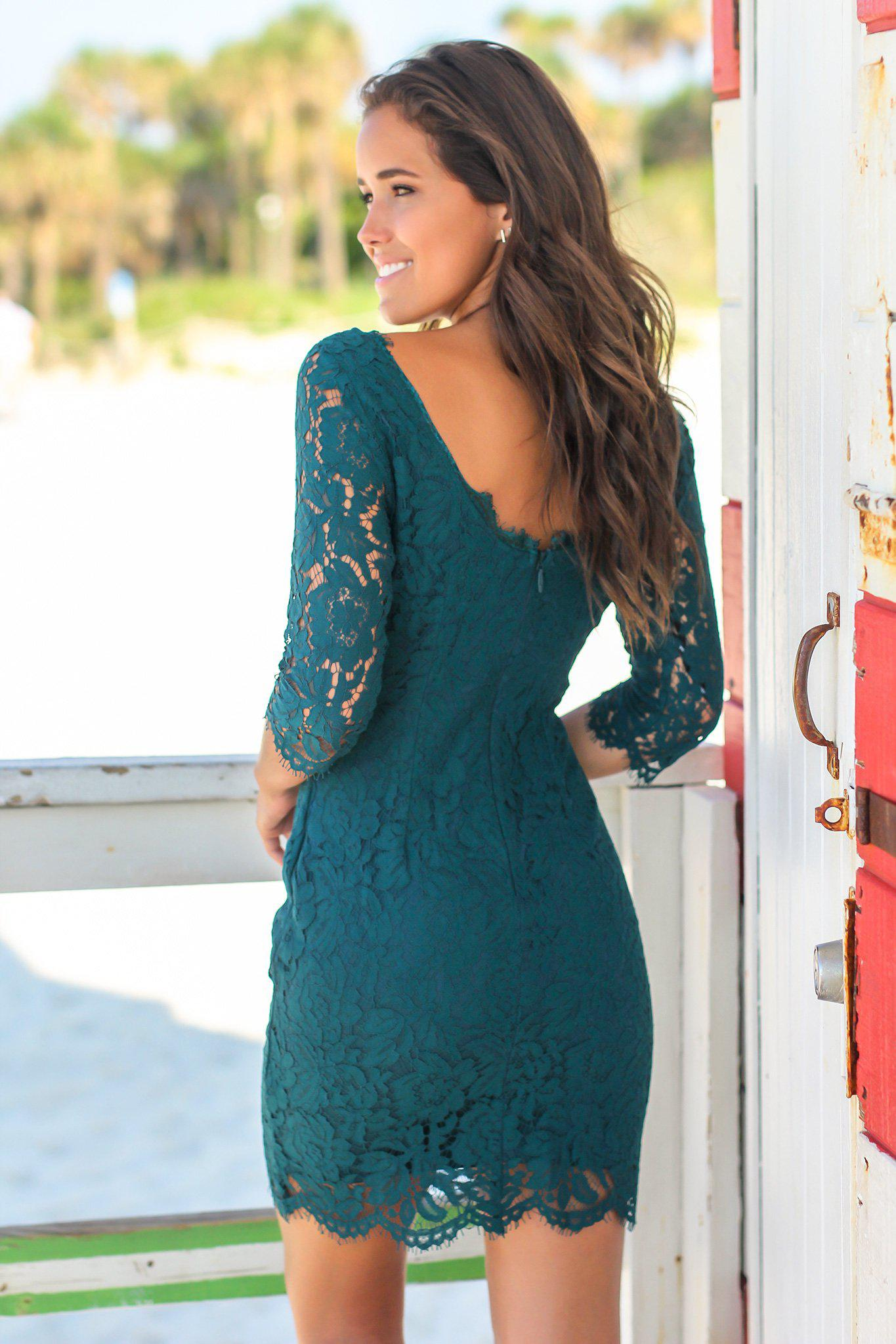 Emerald Teal Lace Short Dress with 3.4 Sleeves