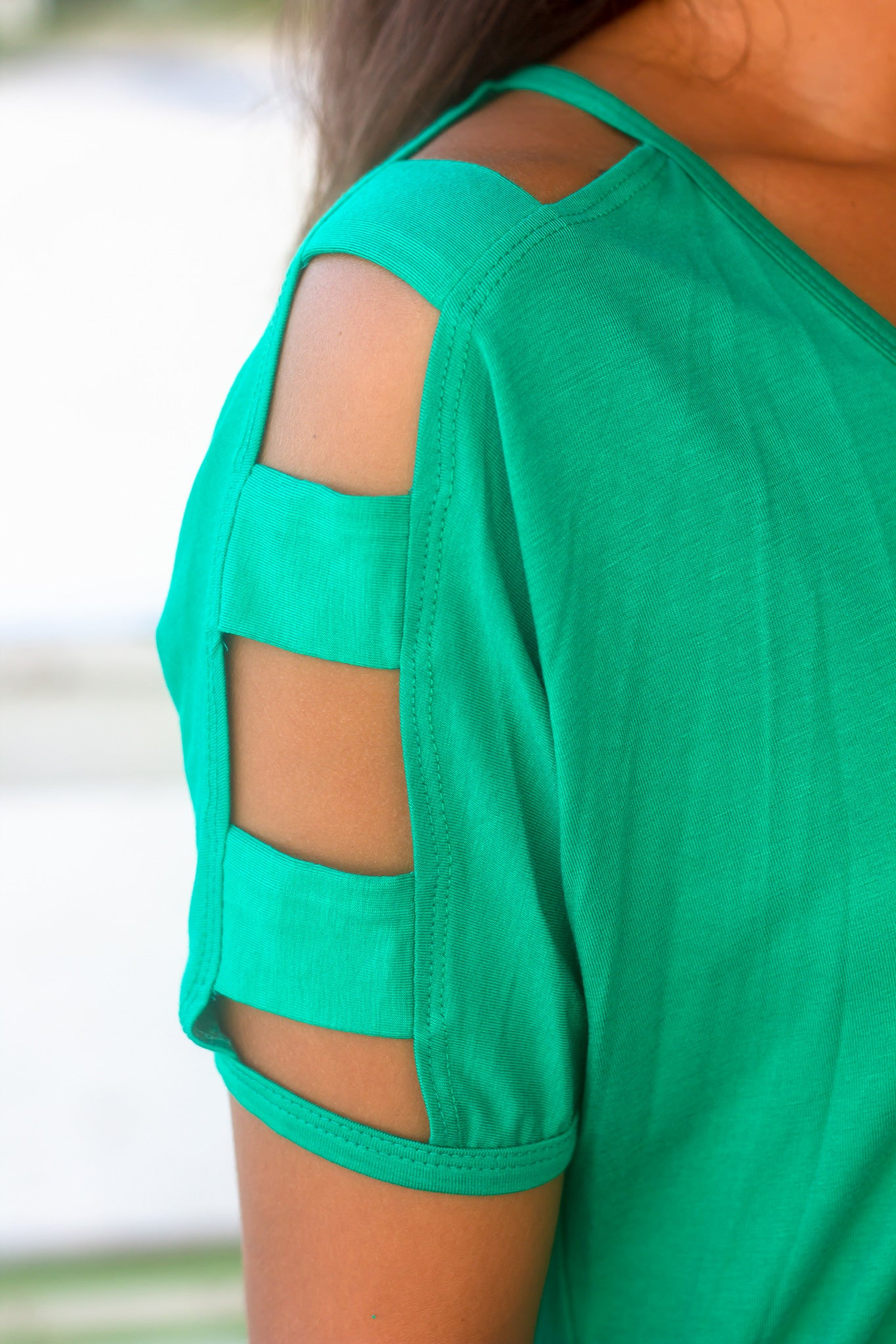 Emerald Top with Strap Detail Sleeves