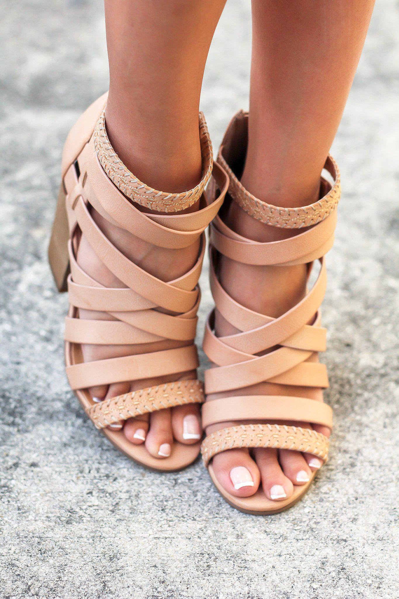 Feeling Strappy Nude Heels
