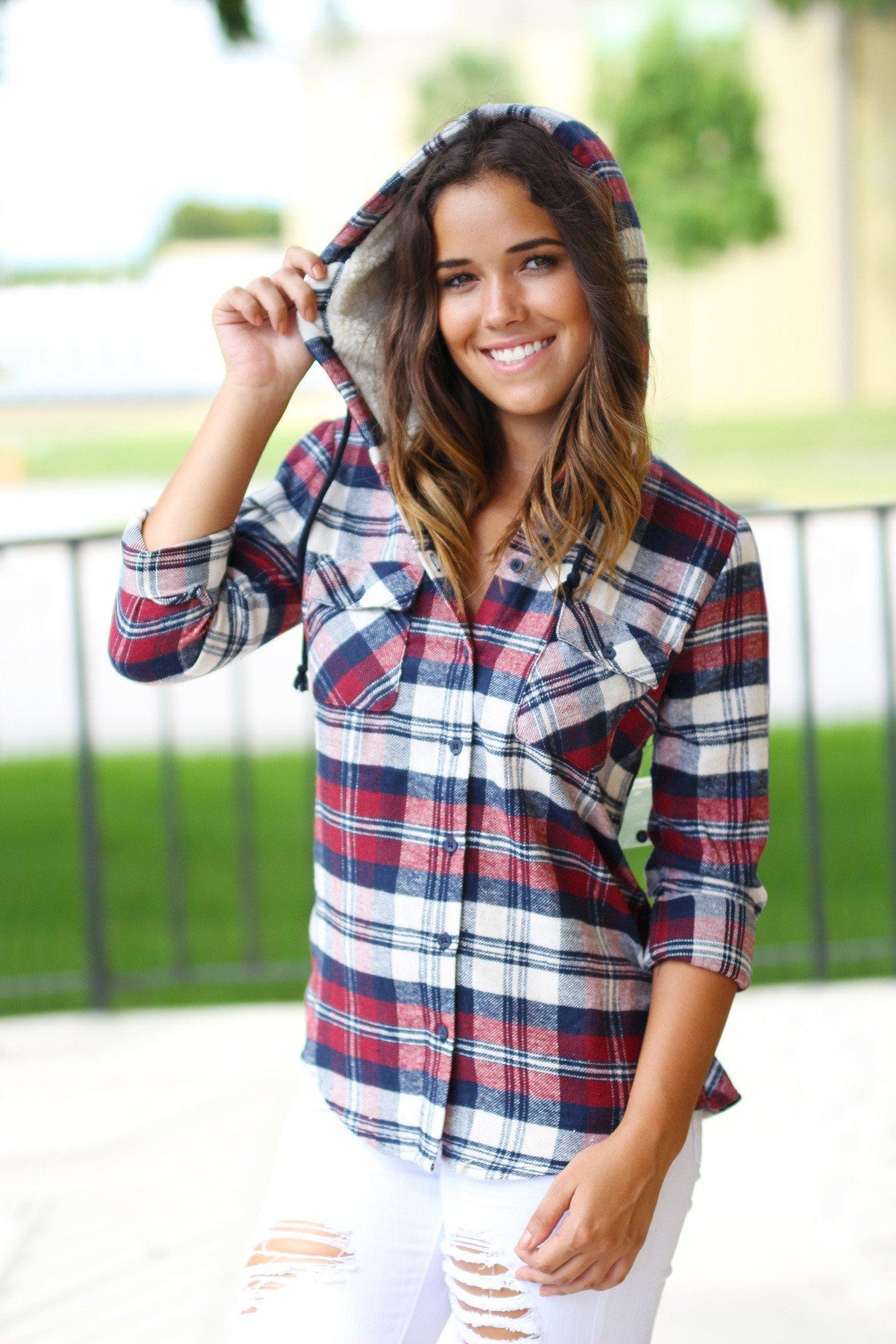 Plaid Flannel Top with Hood