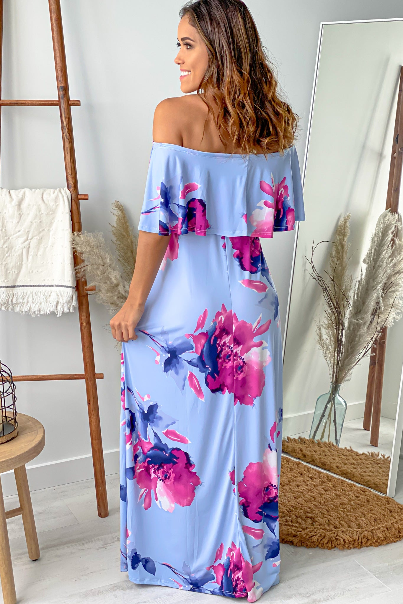 Chambray Floral Off Shoulder Maternity Maxi Dress Saved By The Dress Saved By The Dress