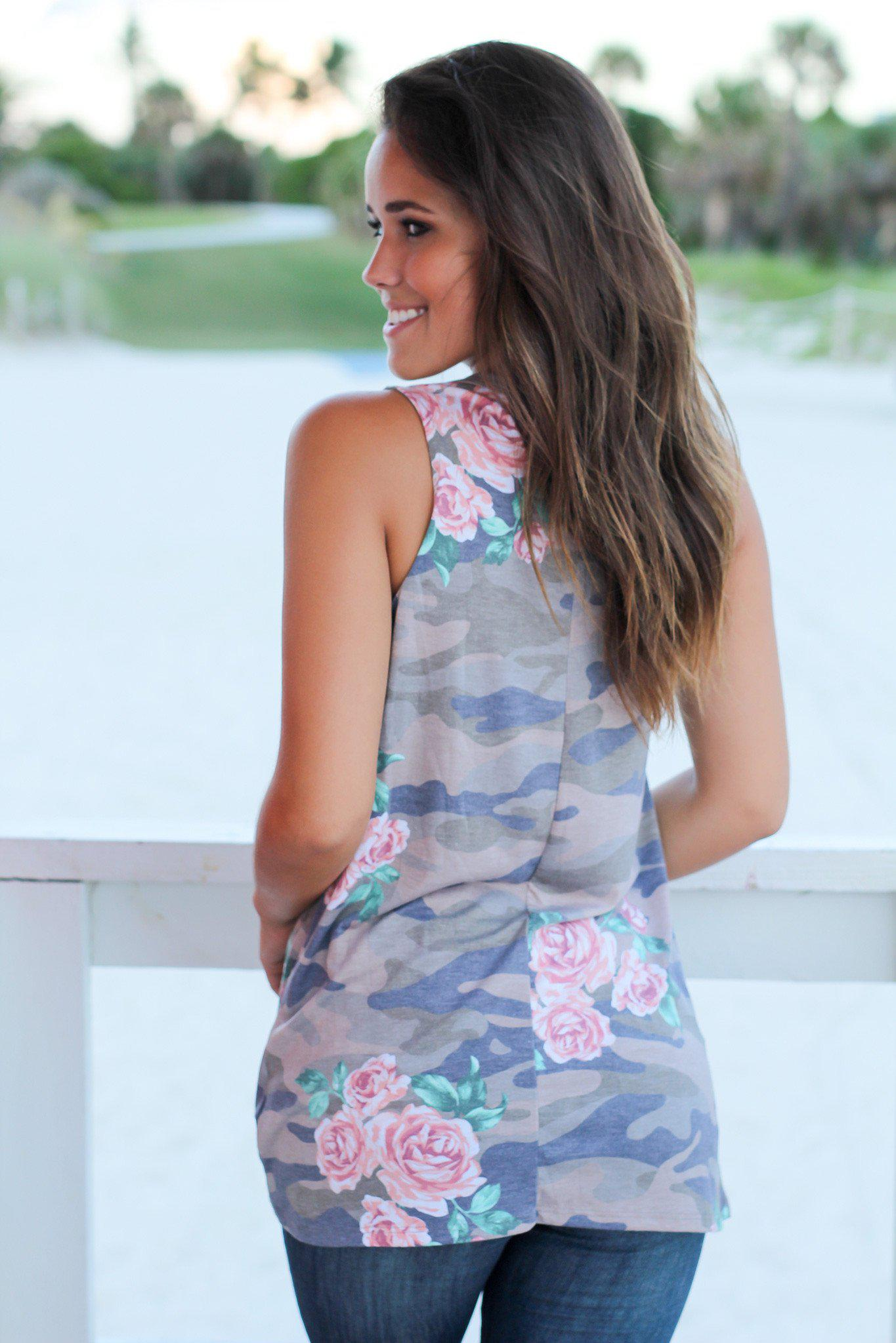 Floral Camo Top with Knot
