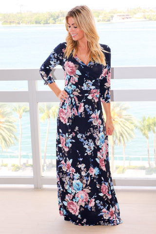 Navy Floral Wrap Maxi Dress with Tie Waist