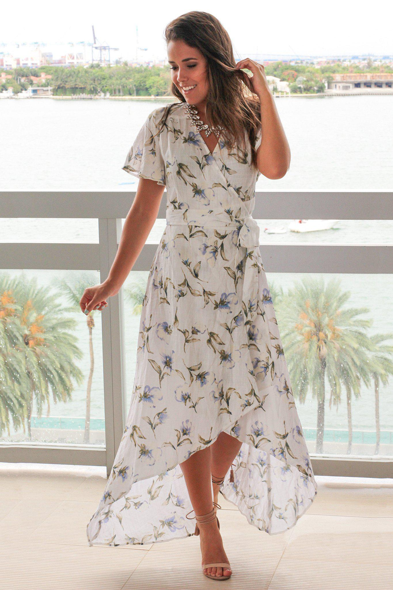 fd96eee0cdf9 Floral Dress; Dress Boutiques; Boutique Clothing; Cute Dresses; Off White Floral  High Low Wrap Dress