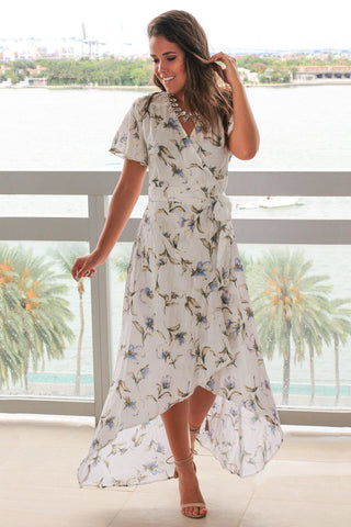 Off White Floral High Low Wrap Dress