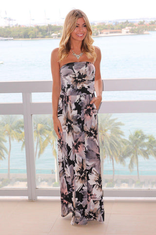 Black Floral Strapless Maxi Dress