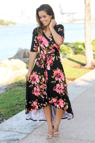 Black and Coral Floral High Low Dress