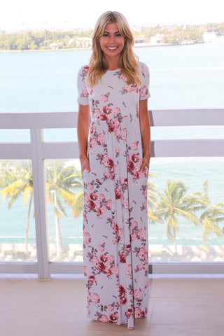 Gray and Pink Floral Maxi Dress with Short Sleeves