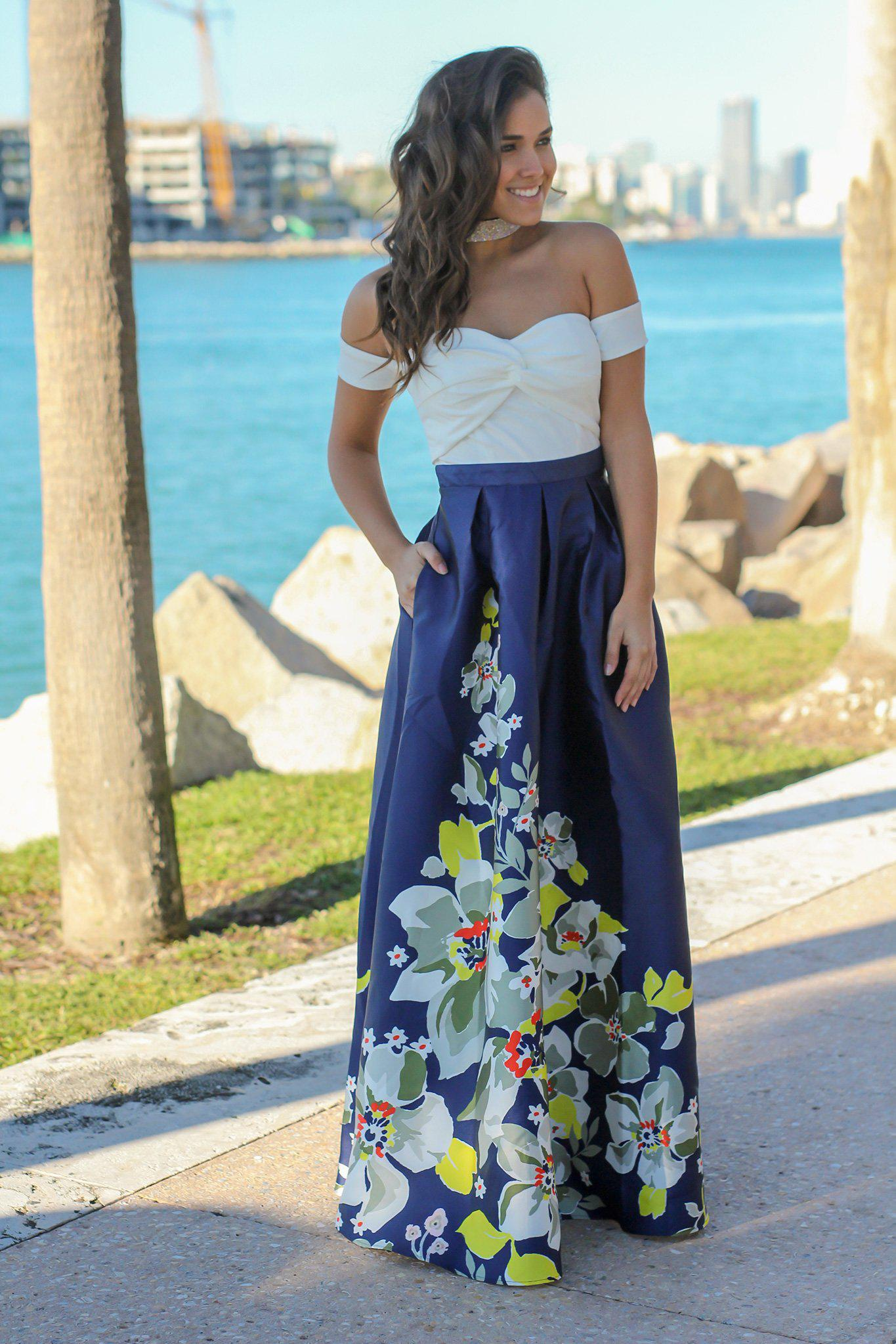 cabf2c472117 Floral Dress  Maxi Dresses  Beautiful Dresses  Ivory and Navy Off Shoulder  ...