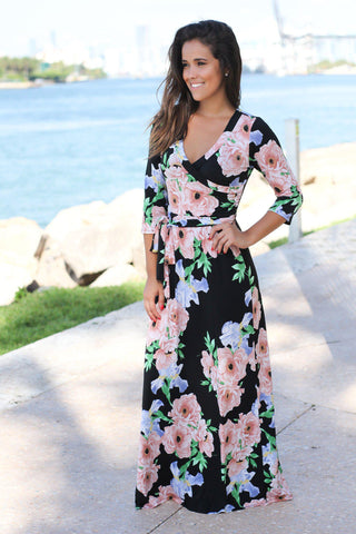 Black and Mauve Floral Maxi Dress with 3/4 Sleeves