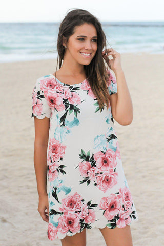 Ivory and Pink Floral Scalloped Short Dress