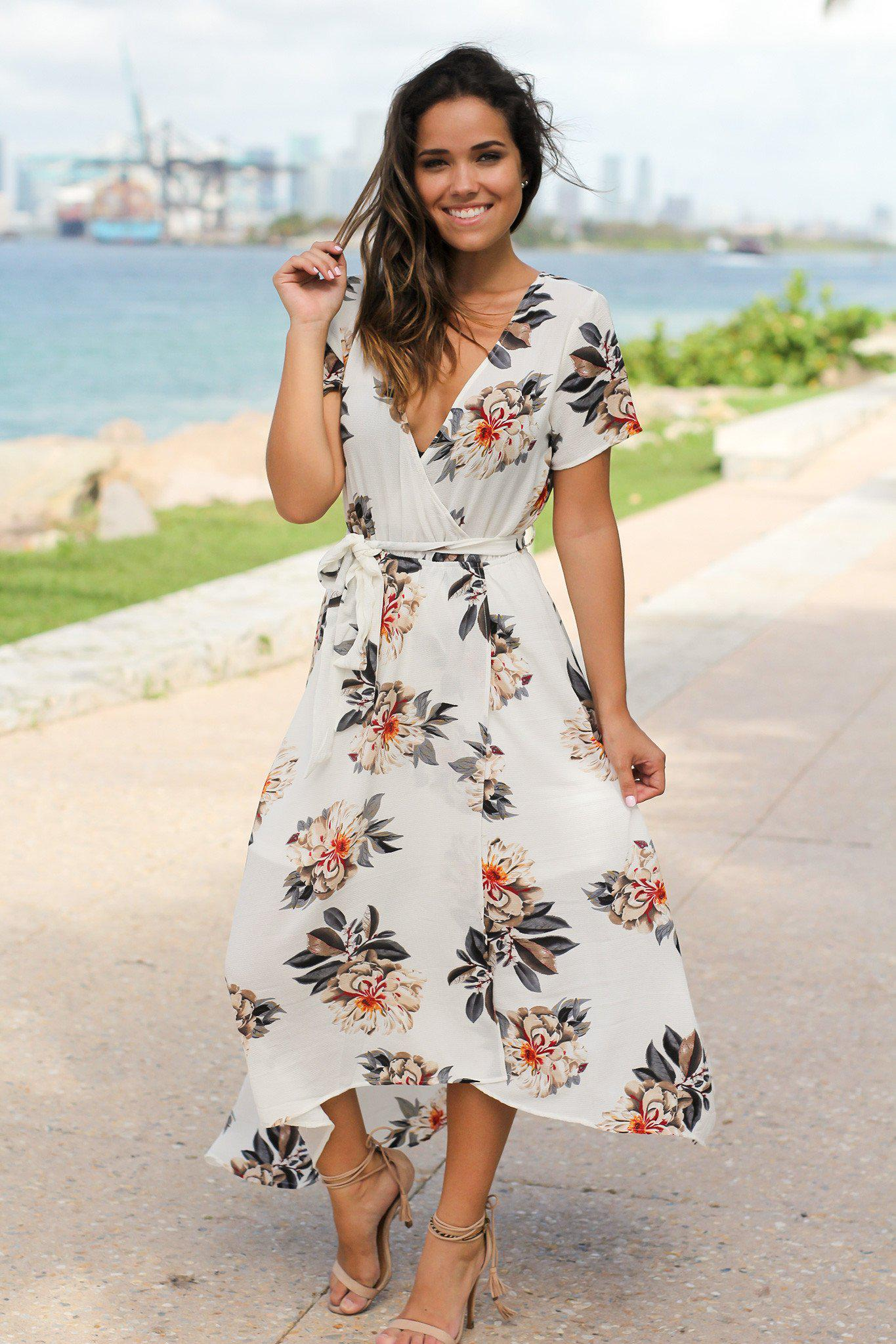 fb2d931a8f53 Ivory Floral High Low Wrap Dress | Online Boutiques – Saved by the Dress