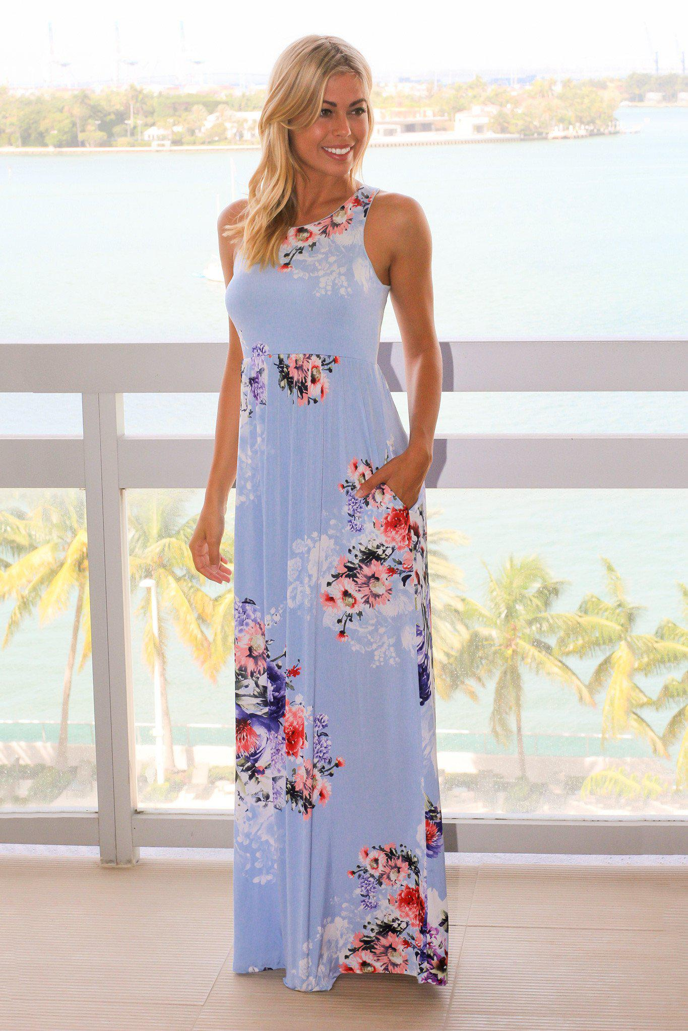 74aa07482fbf Baby Blue Floral Maxi Dress with Pockets | Maxi Dresses – Saved by ...