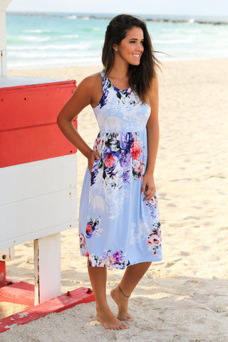 Baby Blue Floral Midi Dress