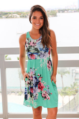 Mint and Pink Floral Short Dress