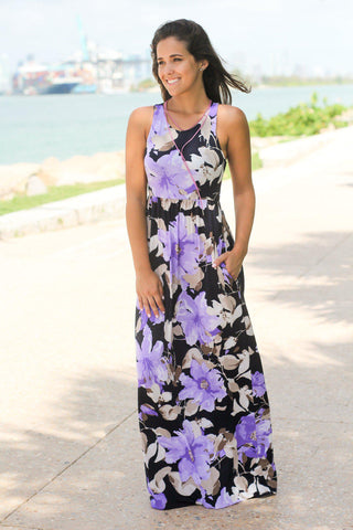 Navy and Lilac Floral Print Maxi Dress