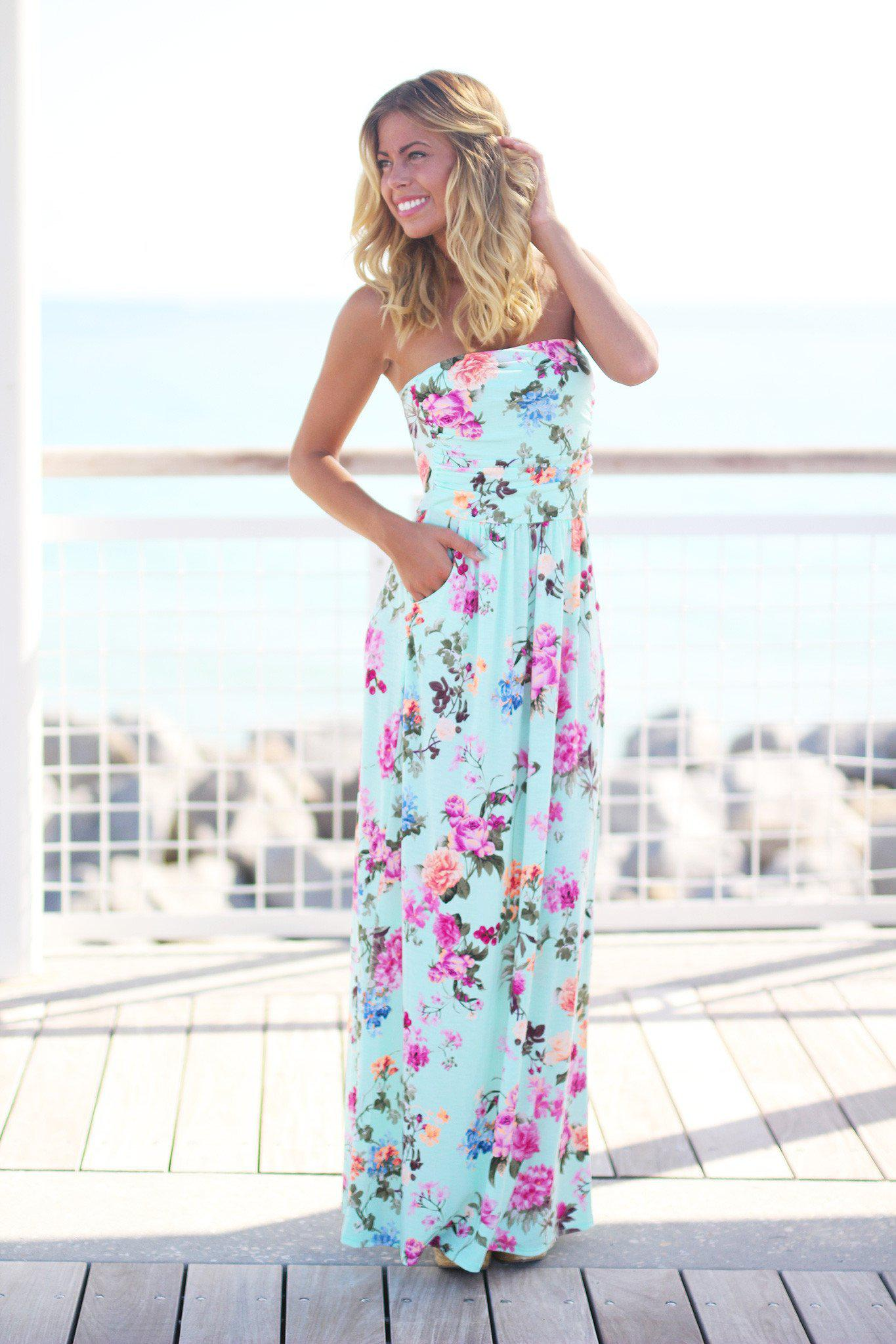 Strapless Floral Maxi Dress with Pockets