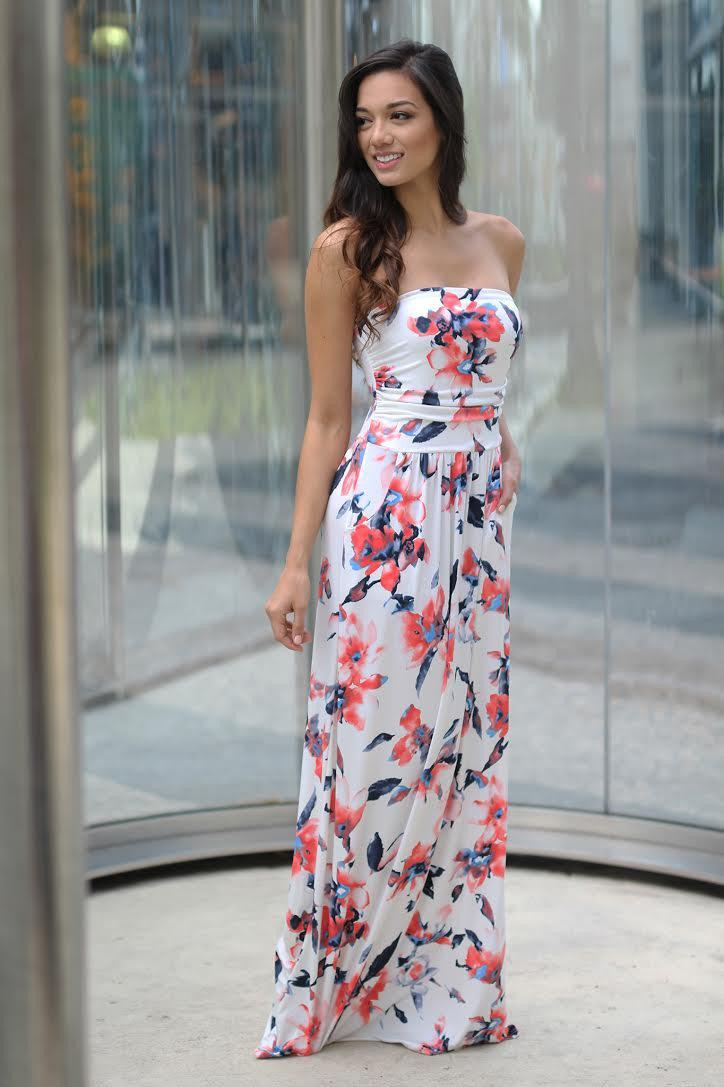 Ivory Floral Maxi Dress with Pockets