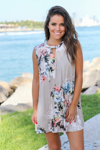 Stone Floral Swing Dress with Keyhole