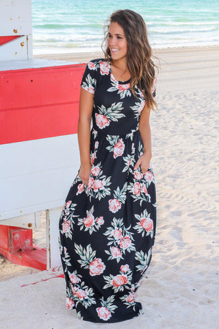 Black and Mauve Floral Maxi Dress with Short Sleeves