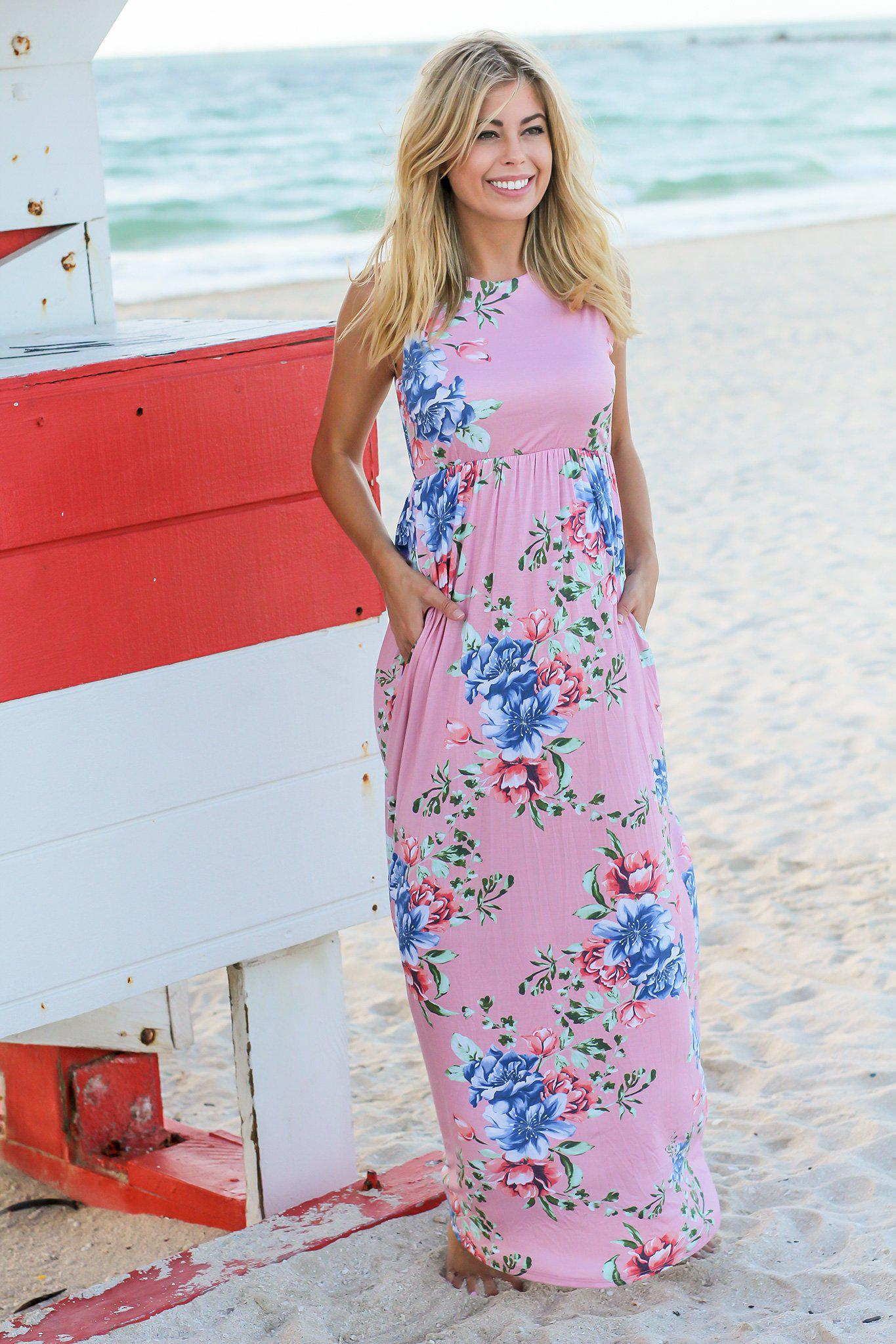 Pink And Blue Floral Maxi Dress Maxi Dresses Saved By The Dress