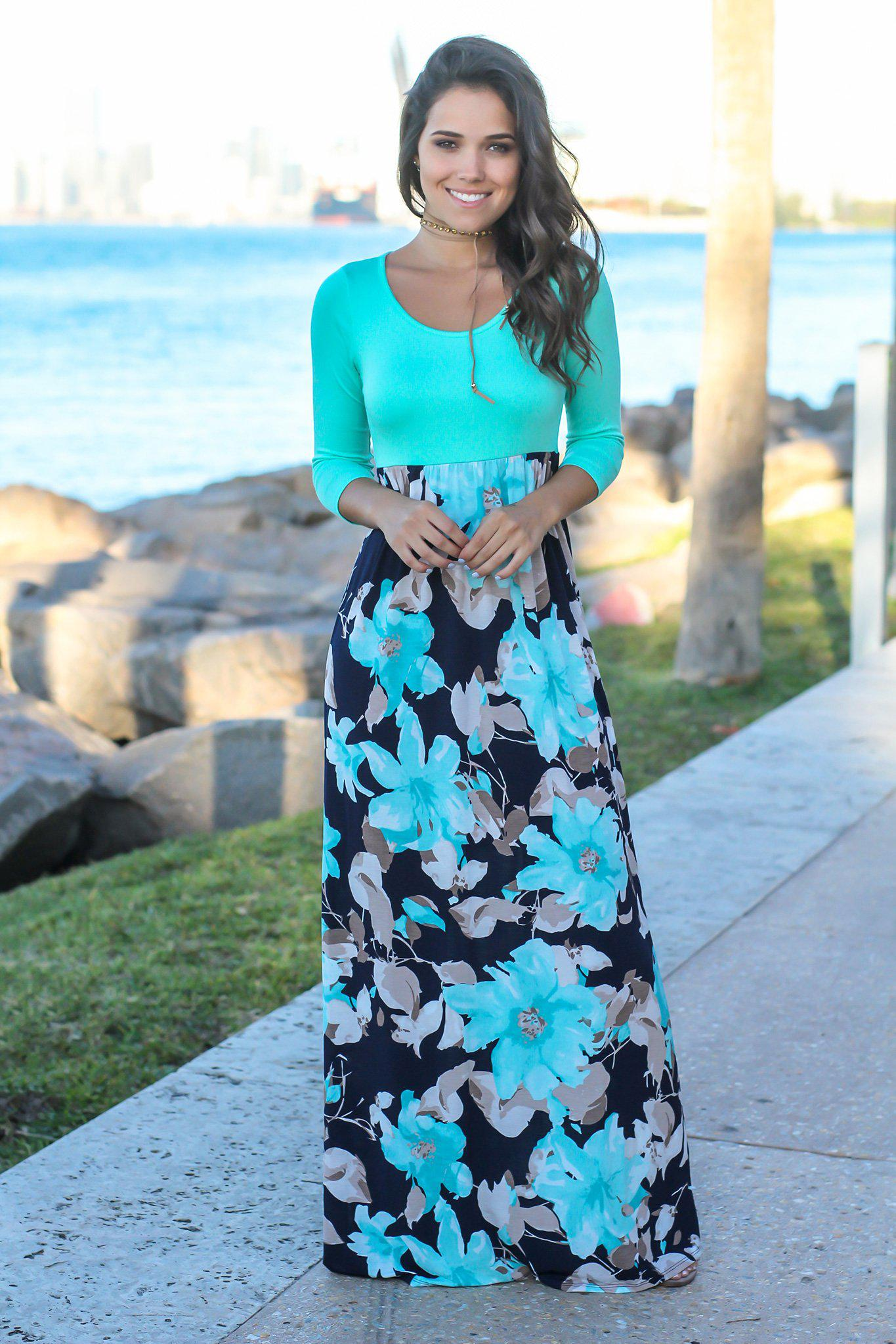 b15eb0144dd ... Navy and Mint Floral Maxi Dress with 3 4 Sleeves