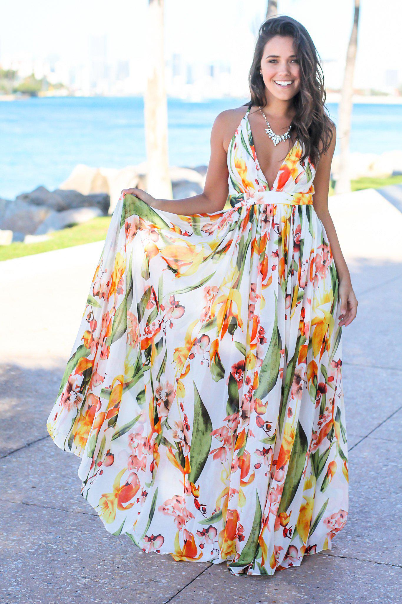 811dea9f92 White and Orange Floral Maxi Dress   Maxi Dresses – Saved by the Dress