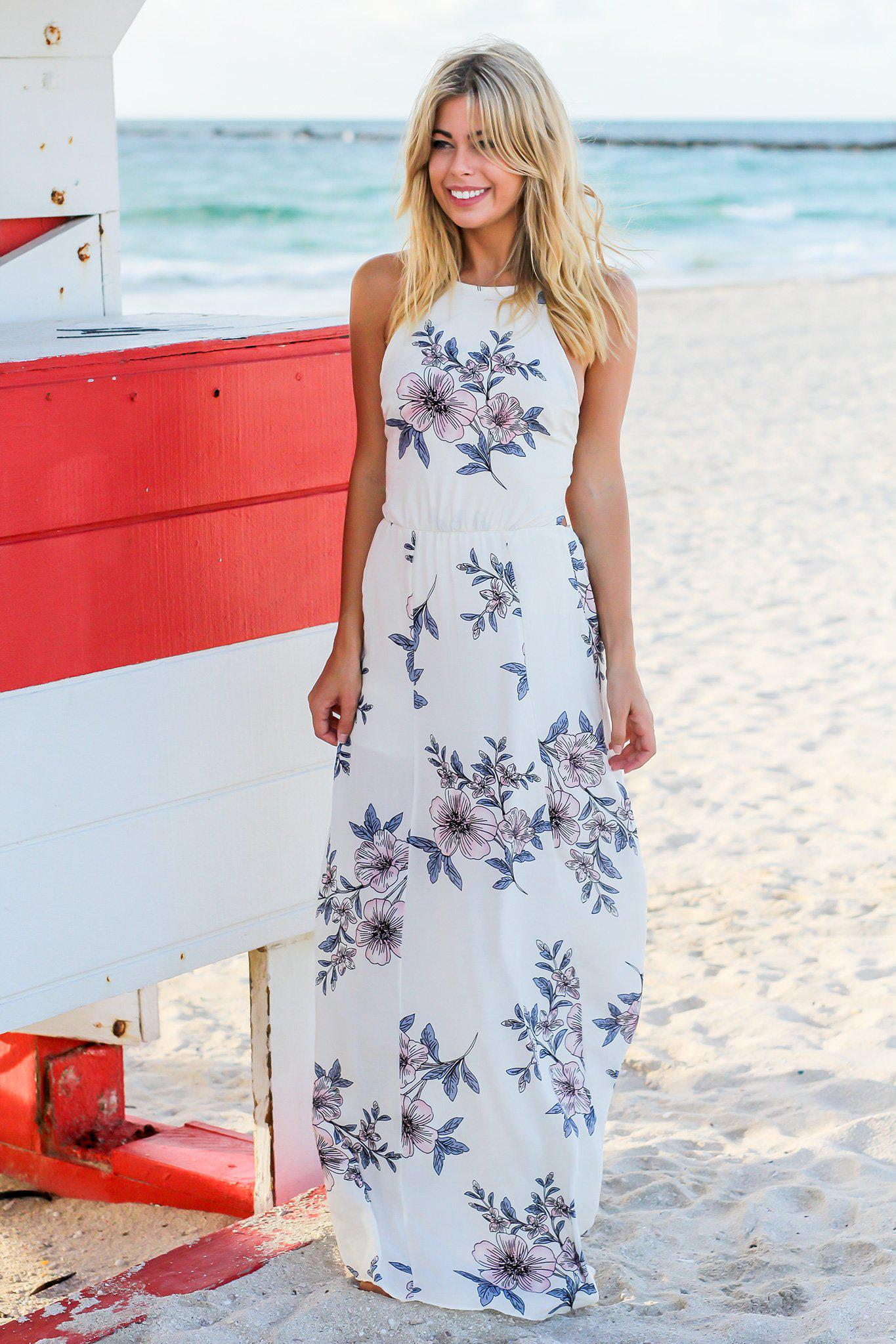 Ivory And Pink Floral Maxi Dress With Strappy Back Maxi Dresses