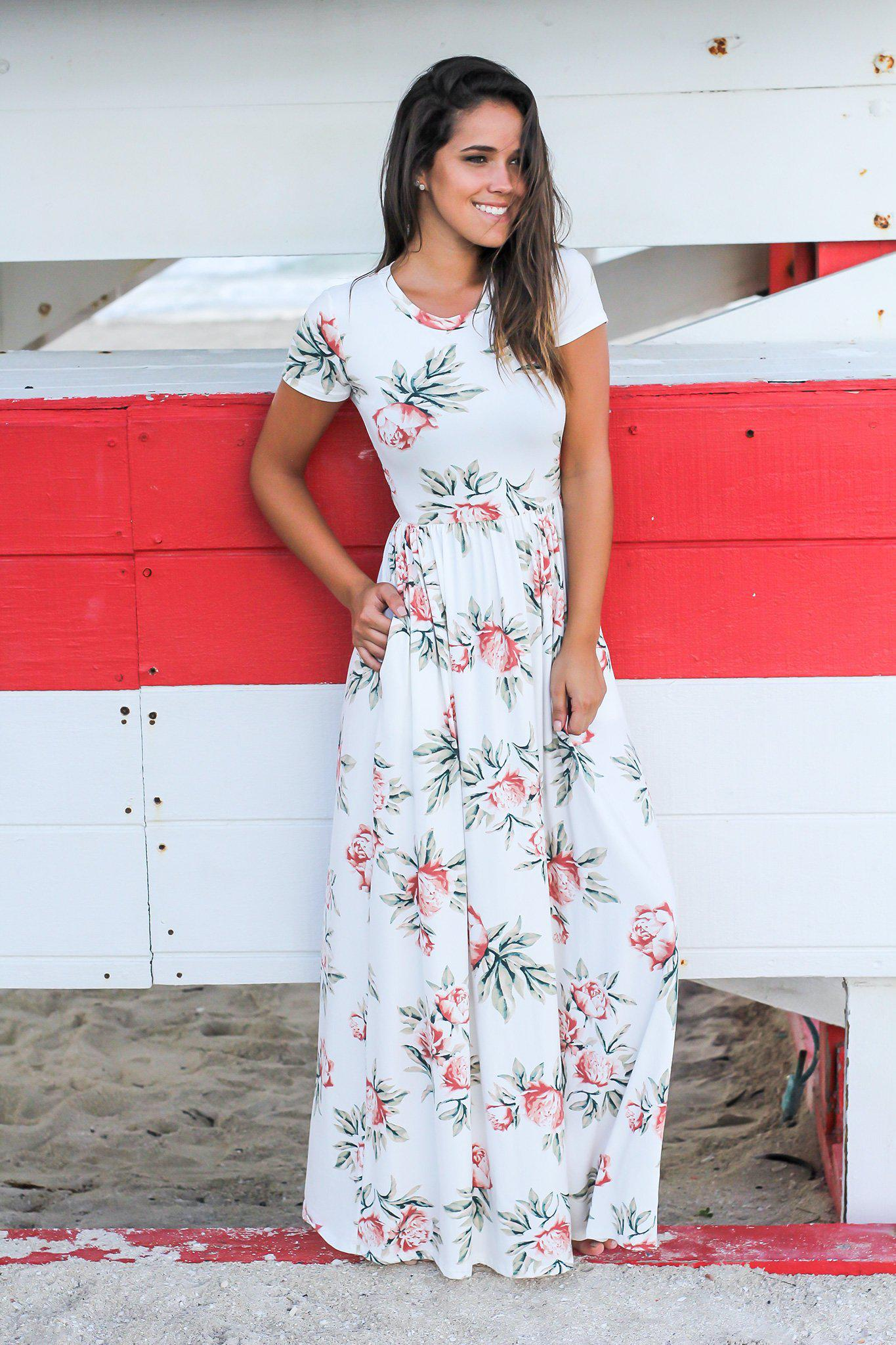 98ac2fe20c8 White Floral Maxi Dress with Short Sleeves