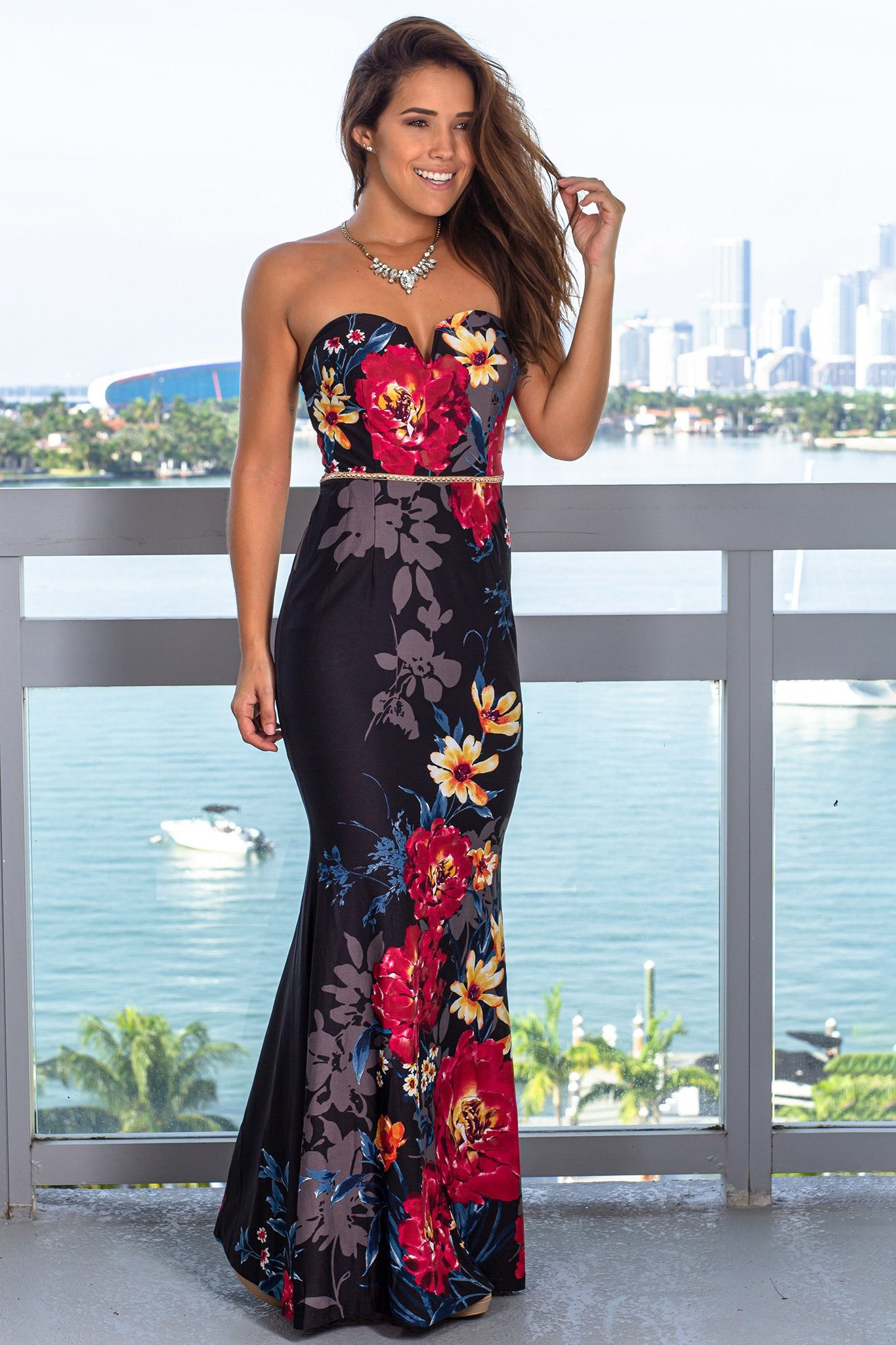 Wine Strapless Maxi Dress with Jeweled Belt