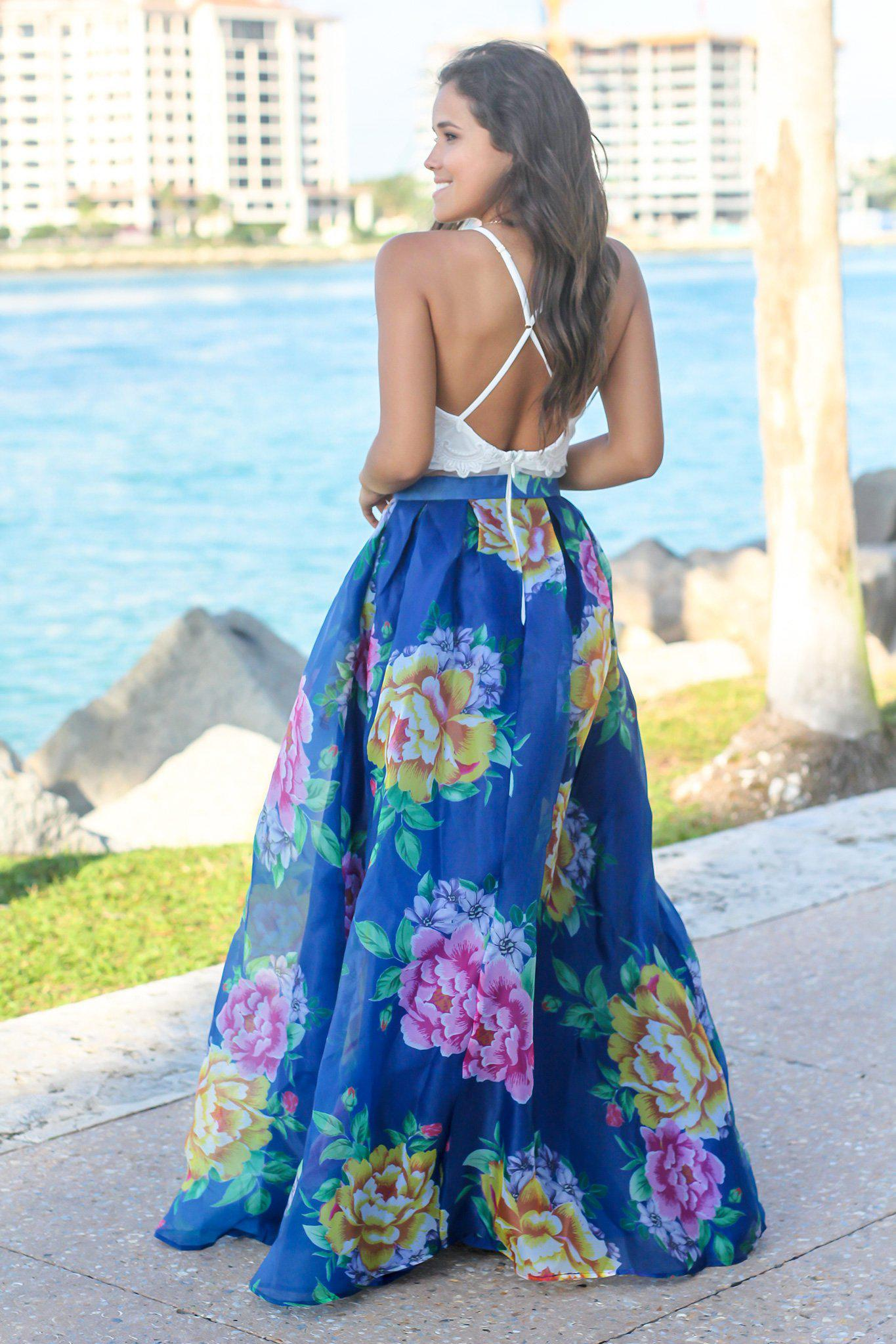 db4a164eb1 Ivory and Royal Blue Floral Maxi Dress with Criss Cross Back; Boutique  Dresses; Maxi Dresses; Floral Dresses ...