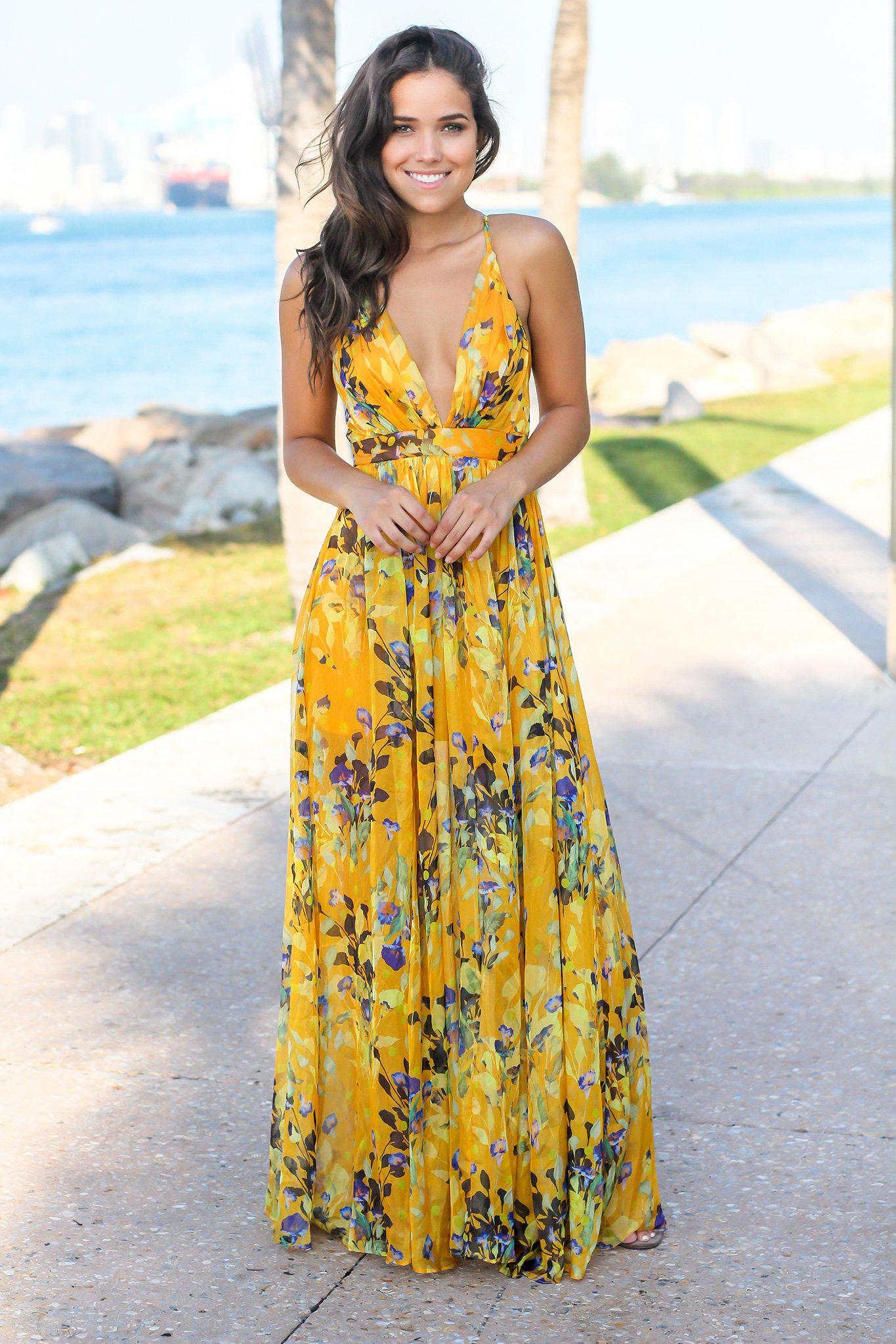 e01f59204fa Yellow Floral Maxi Dress with Criss Cross Back