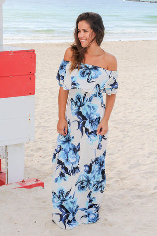 Ivory and Cobalt Blue Floral Off Shoulder Maxi Dress