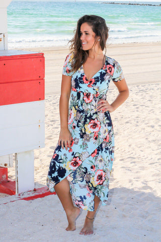 Mint Floral High Low Wrap Maxi Dress