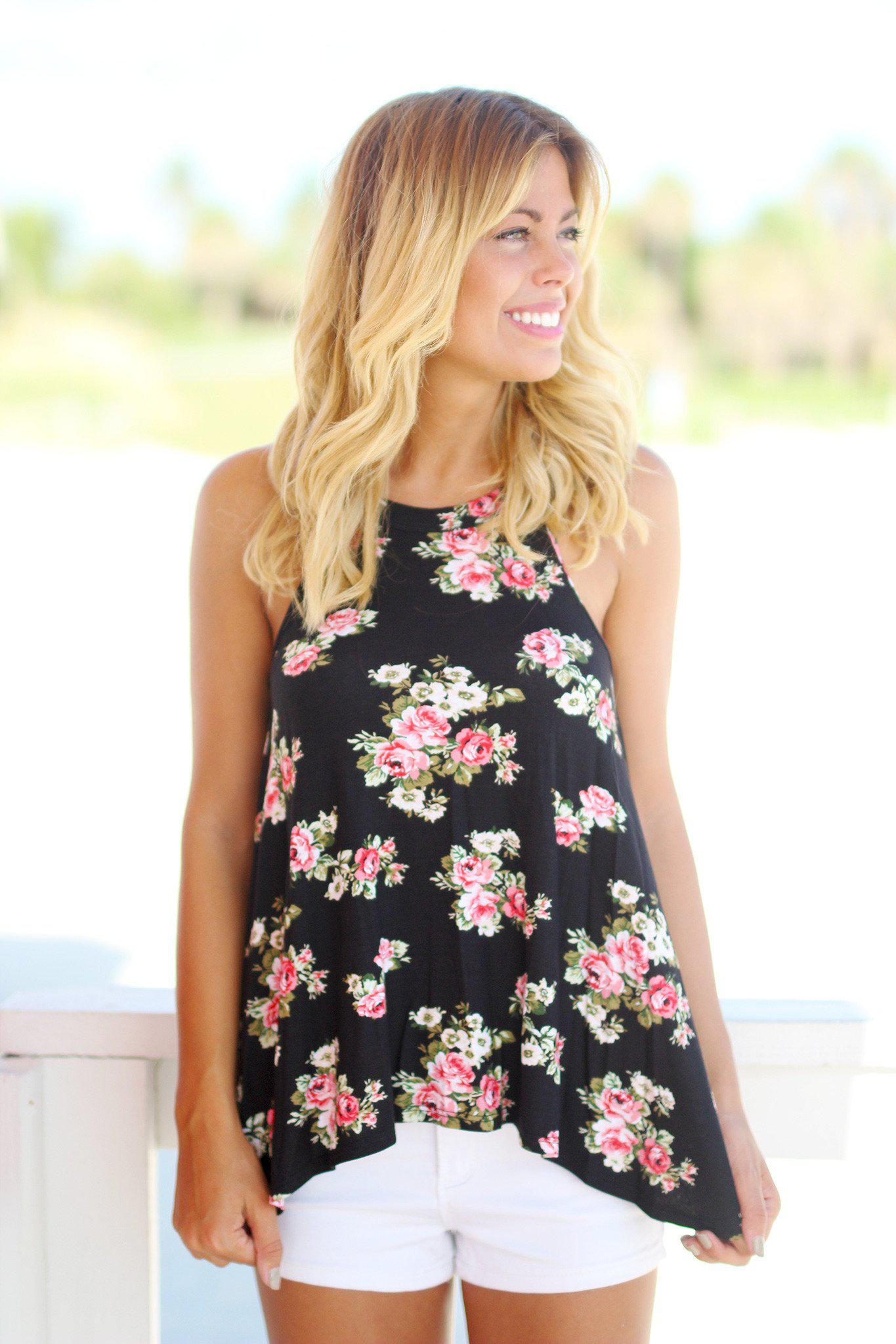 Black Floral High Neck Top